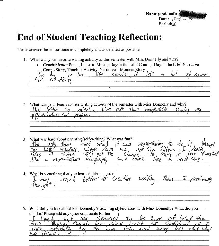 Student 2 Reflection