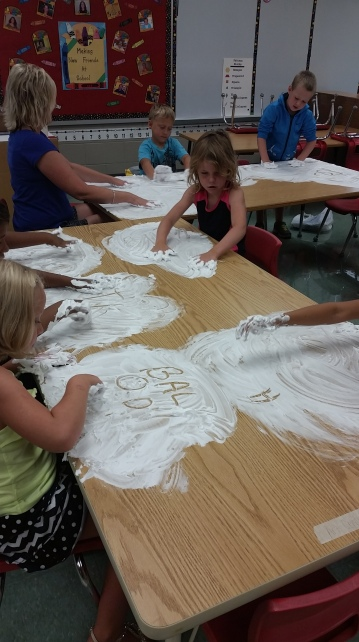 Shaving cream letters and numbers!