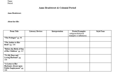 Anne Bradstreet Background and Poetry Notes Sheet: to help students bridge between Puritan/poetic elements and Puritanism in The Scarlet Letter