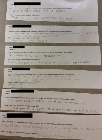 These are some of my students' exit slips. What they said they learned about themselves and one another from the culture presentations.
