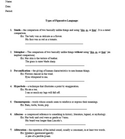 Types of Figurative Language Notes Sheet