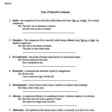Types of Figurative Language Notes Sheet