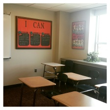 My Classroom with 'I Can' Standards hung in the front. I created this to hold the standards/statements for students to view every day.