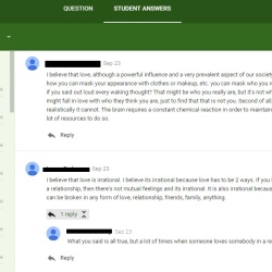 Google Classroom Discussion Board - Is Love Rational or Irrational?