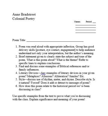 Poem Presentation Rubric