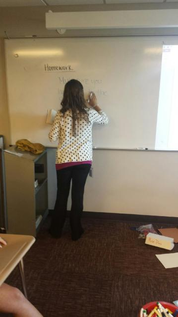 Explaining the assignment and homework.