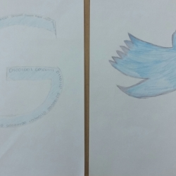 'G' for Geek. This student drew a 'G' then wrote binary code for Geek along the whole interior! The Twitter symbol was one student's confession of spending too much time on social media.
