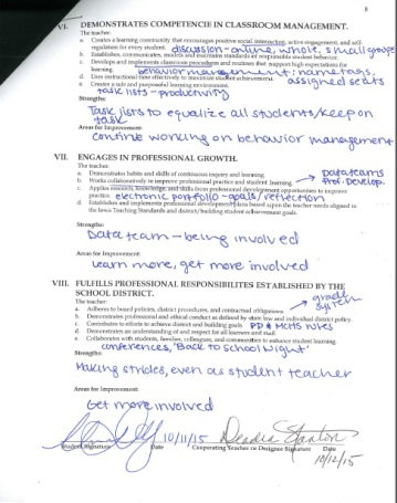 Self-evaluation of student teaching performance, page 3