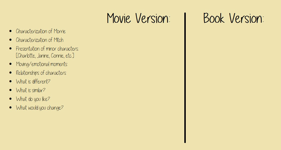 compare contrast tuesdays morrie movie miss donnelly s twm movie vs book