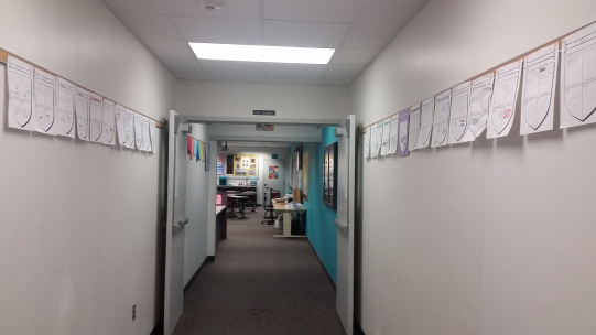 Here are the crests, hung and ready on the walls into the library/my classroom.