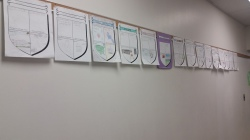 I hung up the crests to show student work!