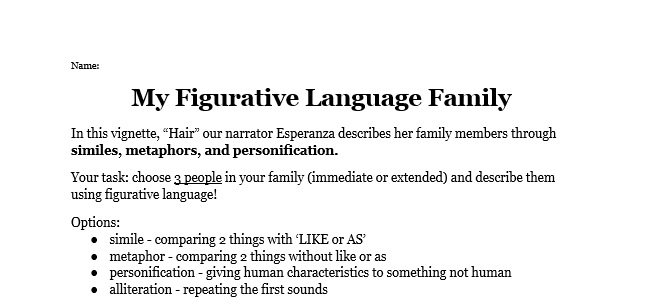 my figurative language family  u2013 miss donnelly u0026 39 s daily apple