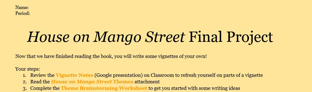the house on mango street writing Pertinent quotes from the house on mango street helpful for writing essays, studying or teaching the house on mango street.