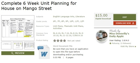 6-week unit plan for House on Mango Street.