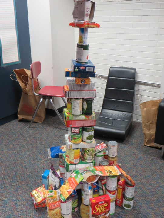 The tower of canned/boxed food items students created in their Dugout! All donated for the Food bank!