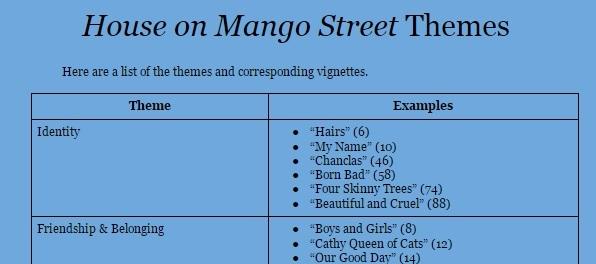 House mango street project ideas